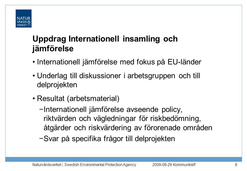 Uppdrag Internationell insamling och jämförelse