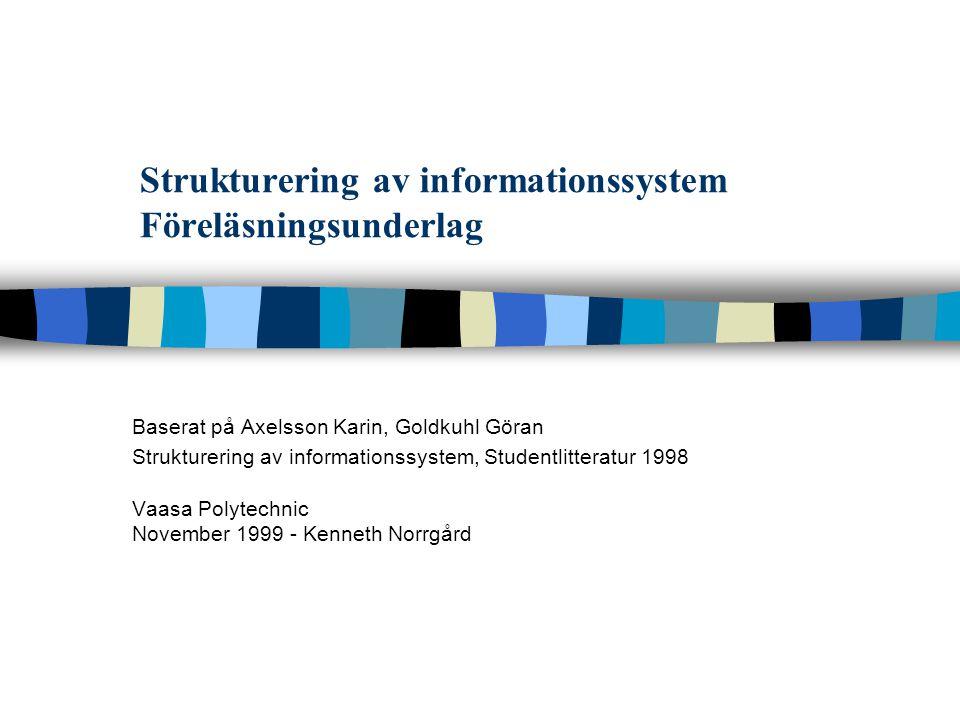 Strukturering av informationssystem Föreläsningsunderlag