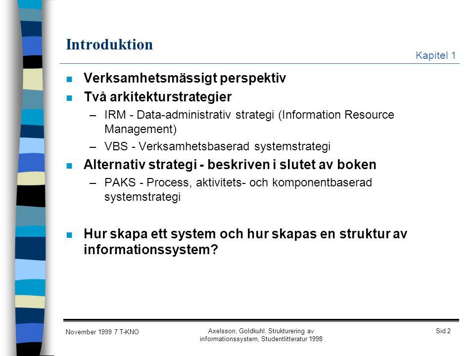 Introduktion Verksamhetsmässigt perspektiv Två arkitekturstrategier