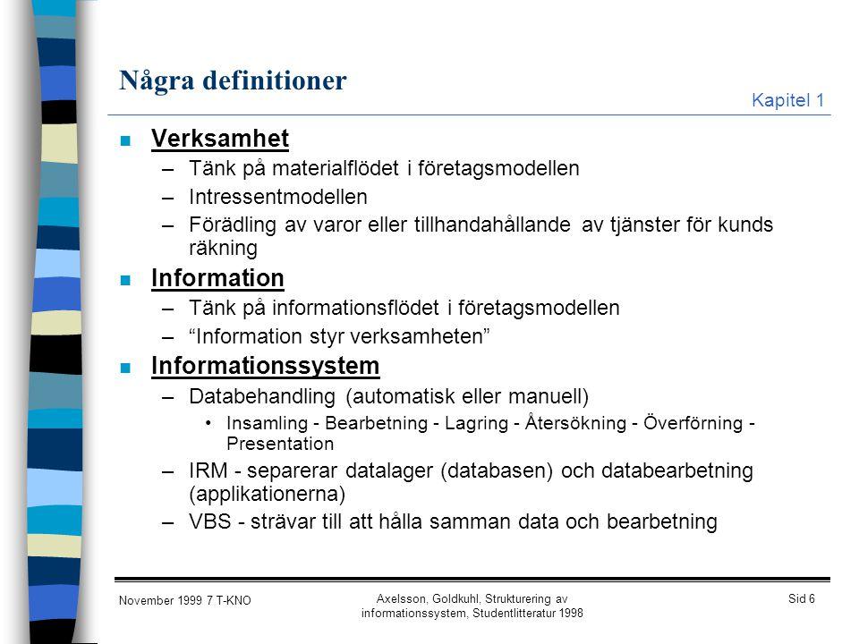 Några definitioner Verksamhet Information Informationssystem