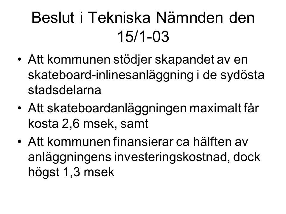 Beslut i Tekniska Nämnden den 15/1-03