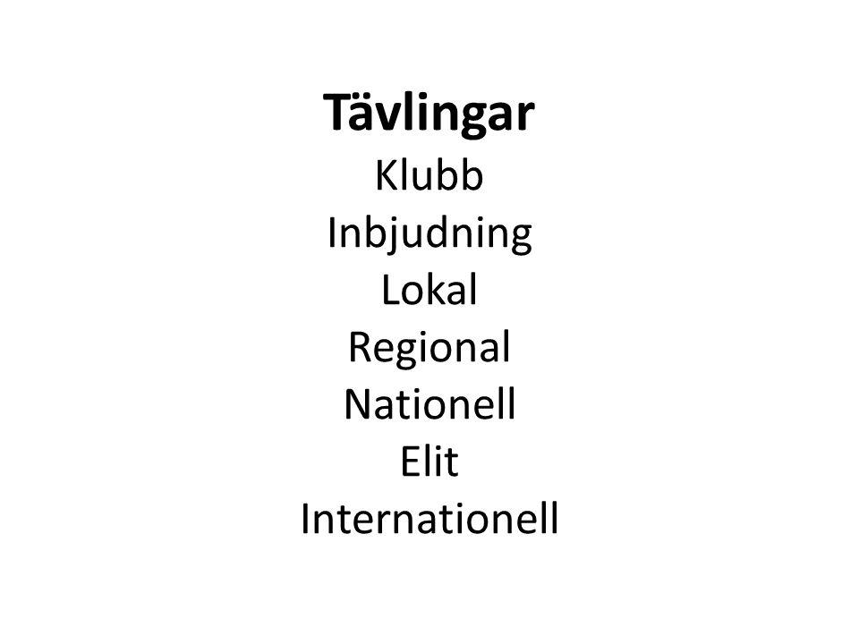 Tävlingar Klubb Inbjudning Lokal Regional Nationell Elit