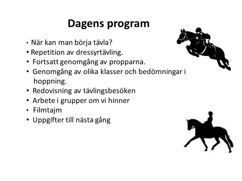 Dagens program Repetition av dressyrtävling.