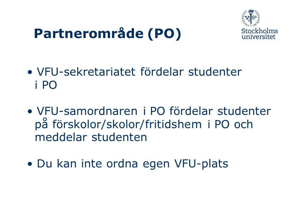 Partnerområde (PO) VFU-sekretariatet fördelar studenter i PO