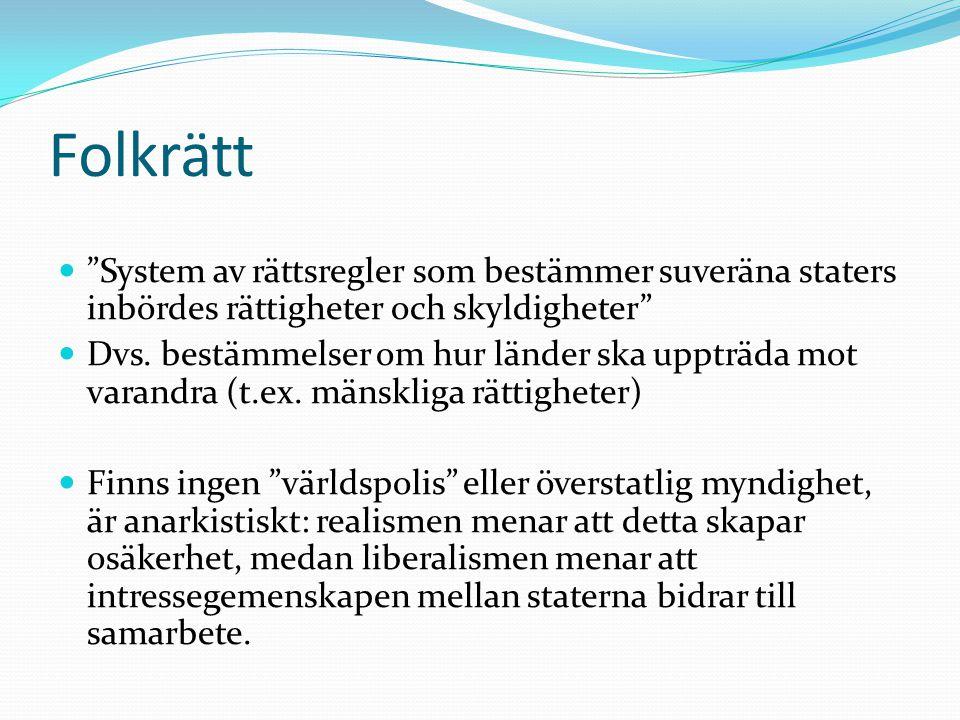 Folkrätt System av rättsregler som bestämmer suveräna staters inbördes rättigheter och skyldigheter
