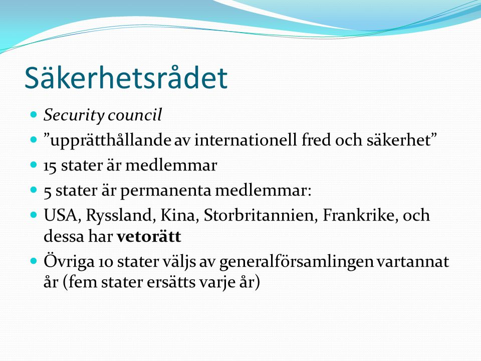 Säkerhetsrådet Security council