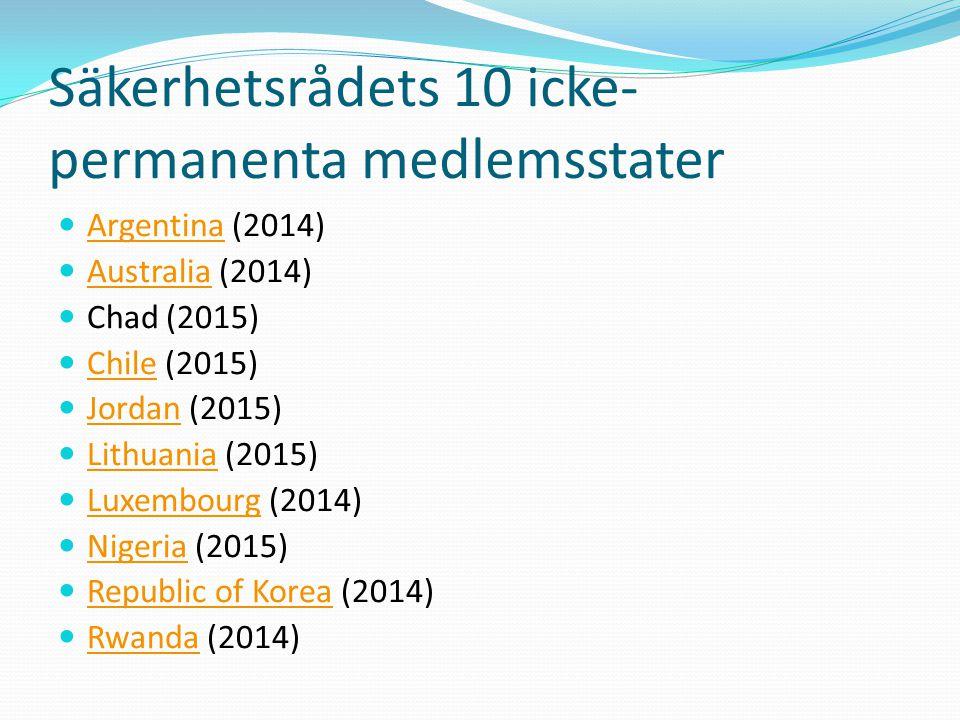 Säkerhetsrådets 10 icke-permanenta medlemsstater