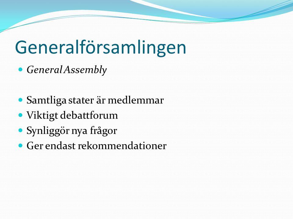 Generalförsamlingen General Assembly Samtliga stater är medlemmar