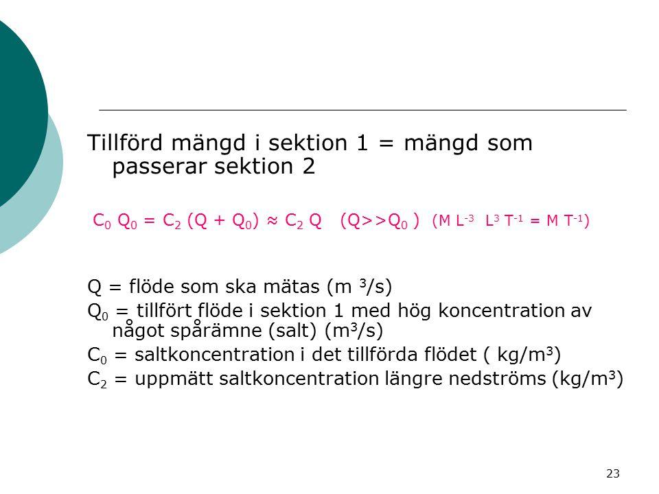 Tillförd mängd i sektion 1 = mängd som passerar sektion 2