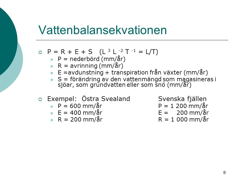 Vattenbalansekvationen