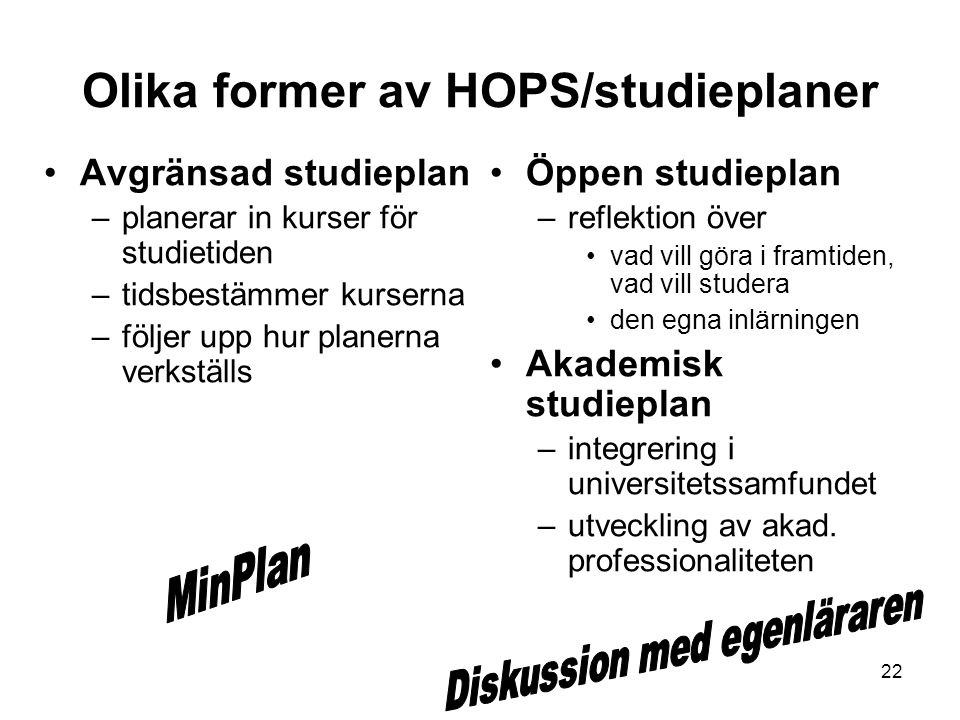 Olika former av HOPS/studieplaner