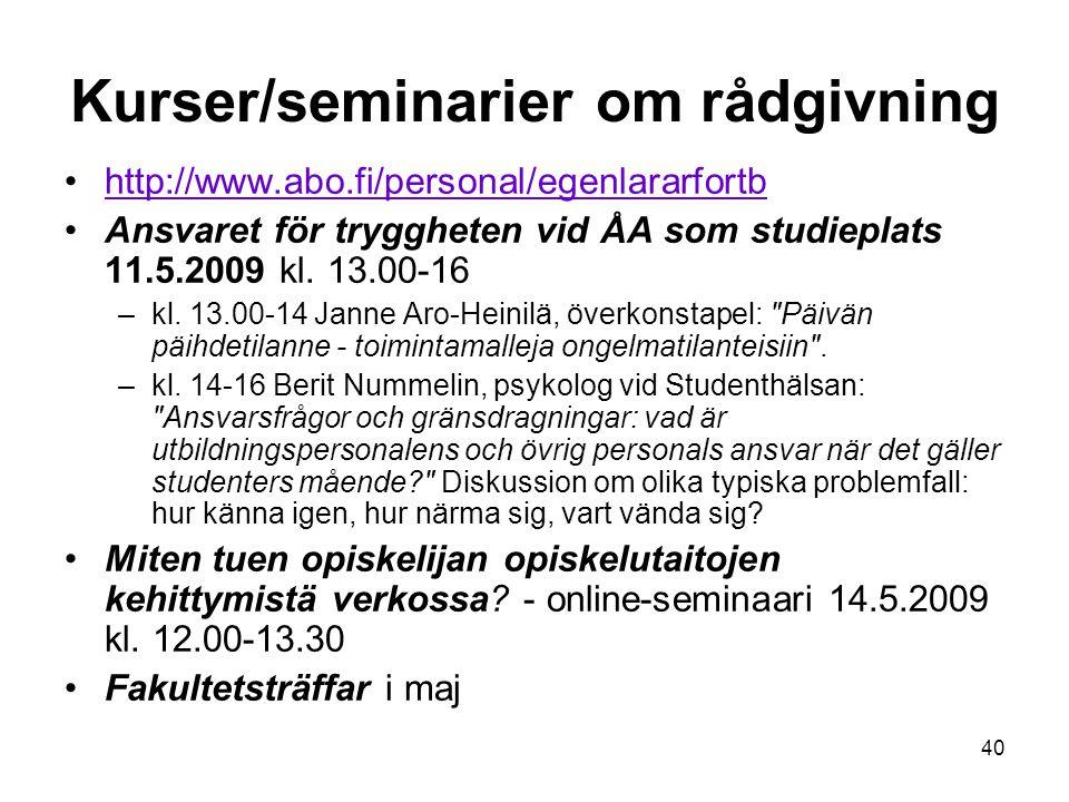 Kurser/seminarier om rådgivning