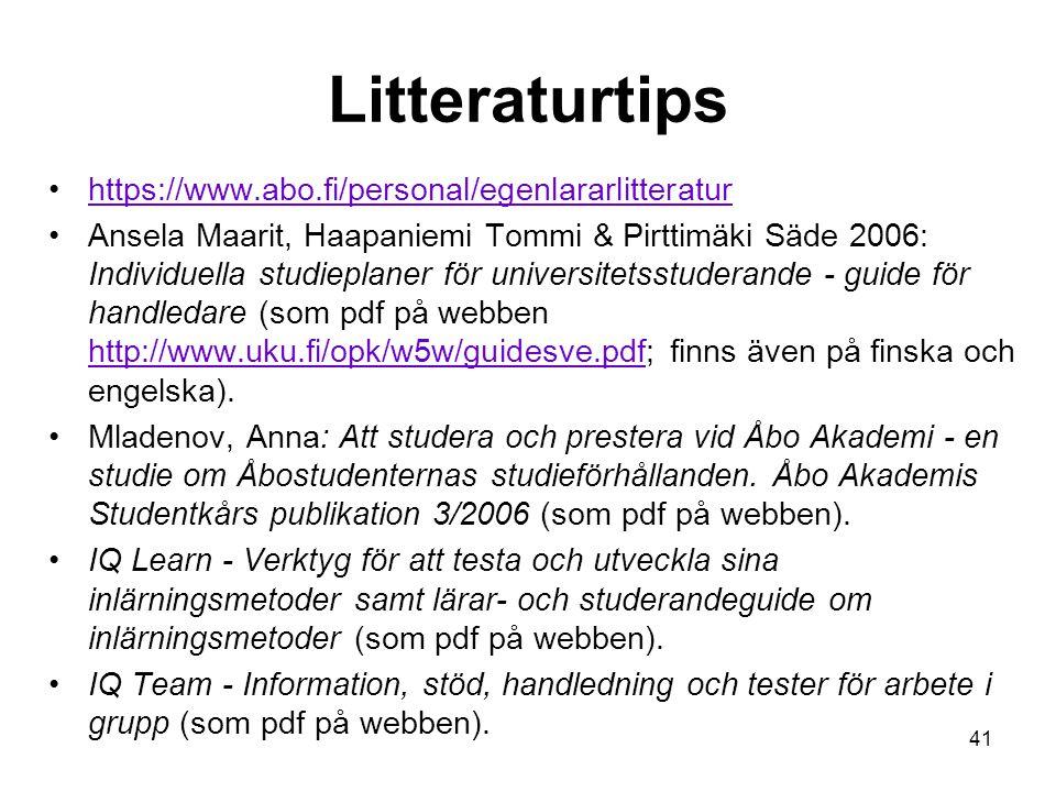 Litteraturtips https://www.abo.fi/personal/egenlararlitteratur