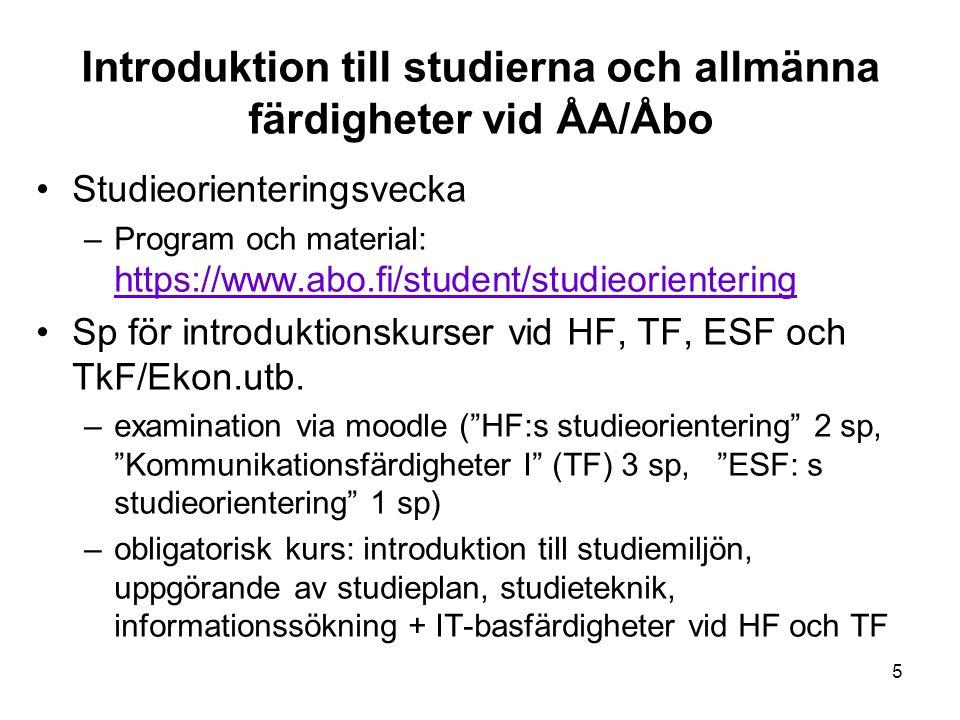 Introduktion till studierna och allmänna färdigheter vid ÅA/Åbo