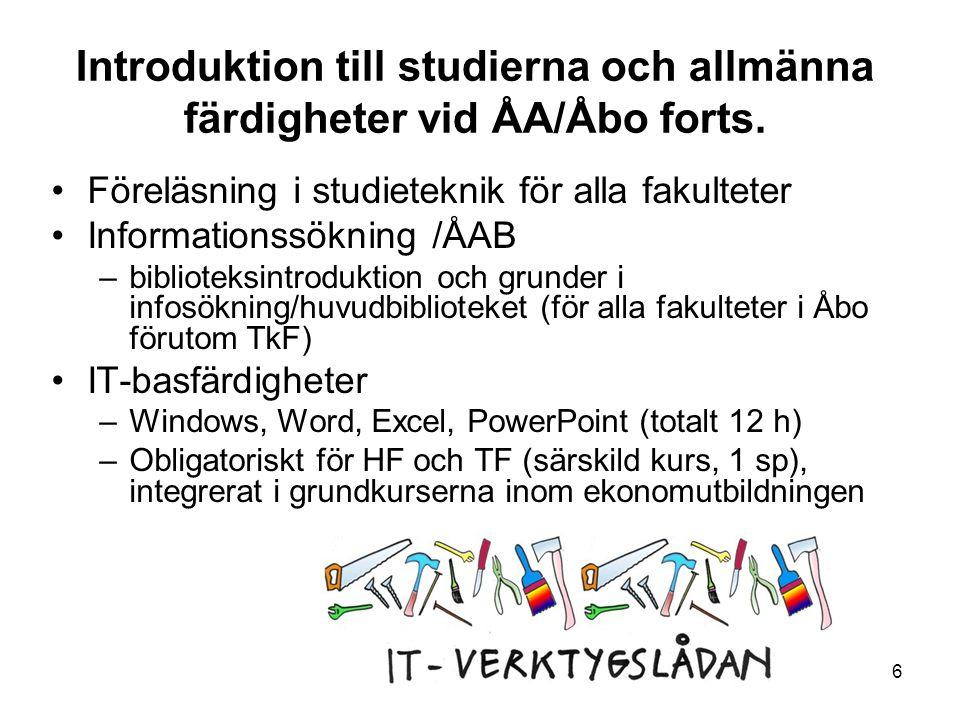 Introduktion till studierna och allmänna färdigheter vid ÅA/Åbo forts.