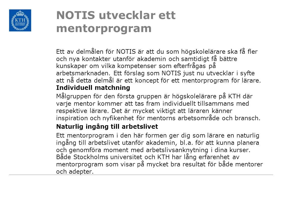 NOTIS utvecklar ett mentorprogram