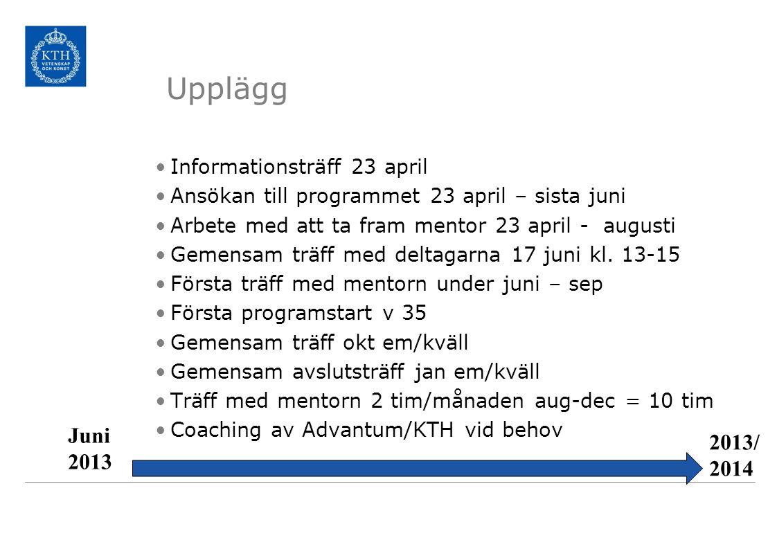 Upplägg Juni 2013 2013/2014 Informationsträff 23 april