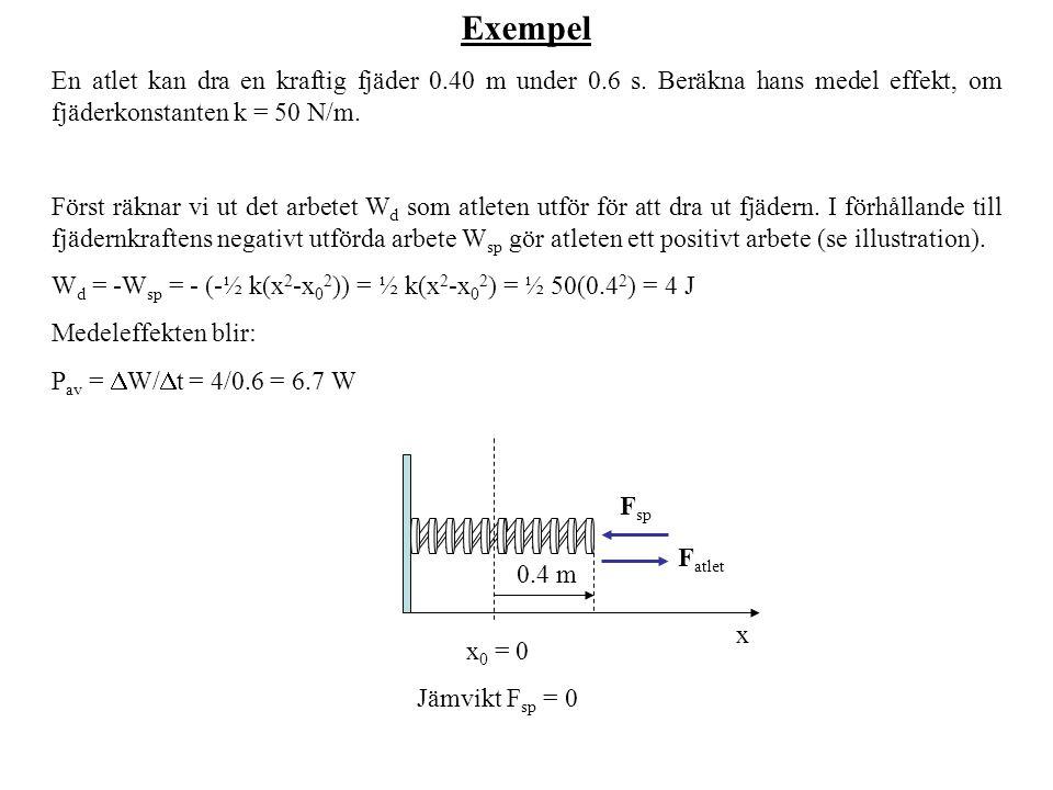 Exempel En atlet kan dra en kraftig fjäder 0.40 m under 0.6 s. Beräkna hans medel effekt, om fjäderkonstanten k = 50 N/m.