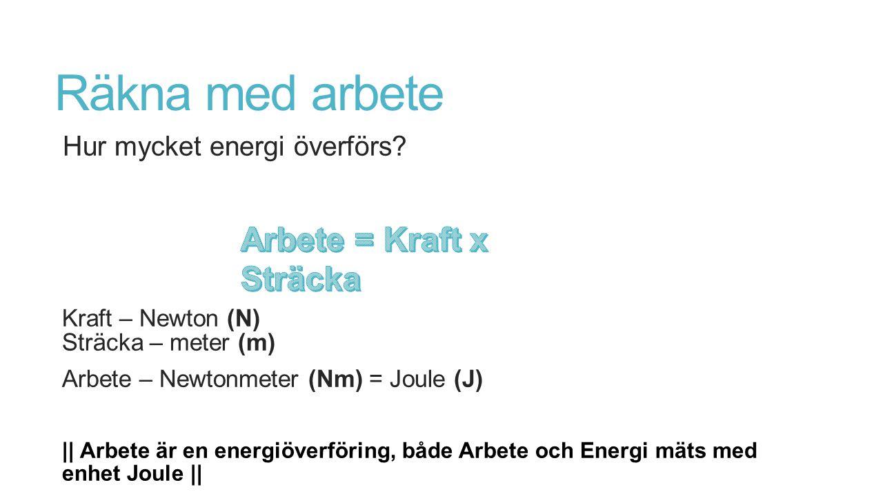 Räkna med arbete Arbete = Kraft x Sträcka Hur mycket energi överförs