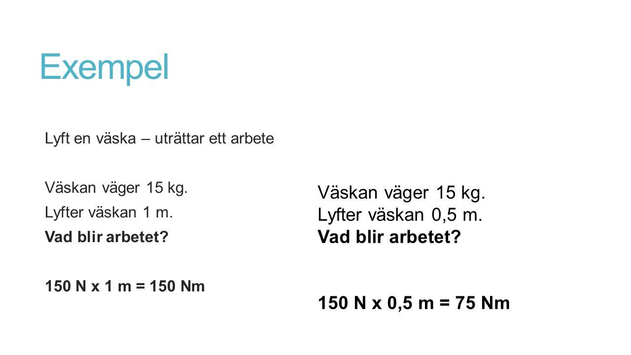 Exempel Väskan väger 15 kg. Lyfter väskan 0,5 m. Vad blir arbetet