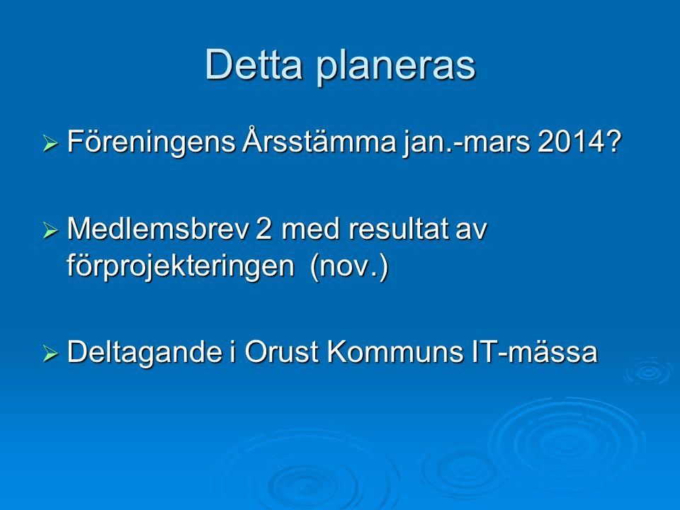 Detta planeras Föreningens Årsstämma jan.-mars 2014