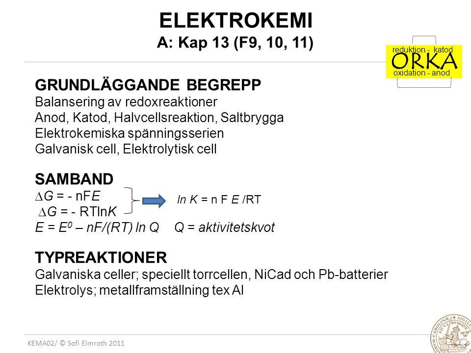 ORKA ELEKTROKEMI A: Kap 13 (F9, 10, 11)