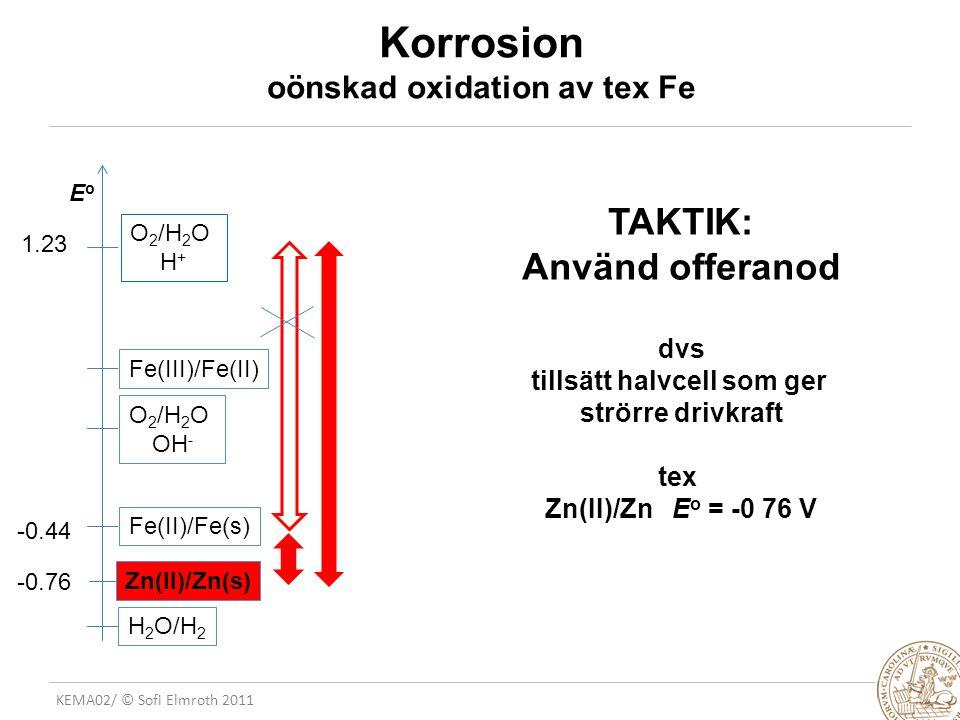 Korrosion oönskad oxidation av tex Fe
