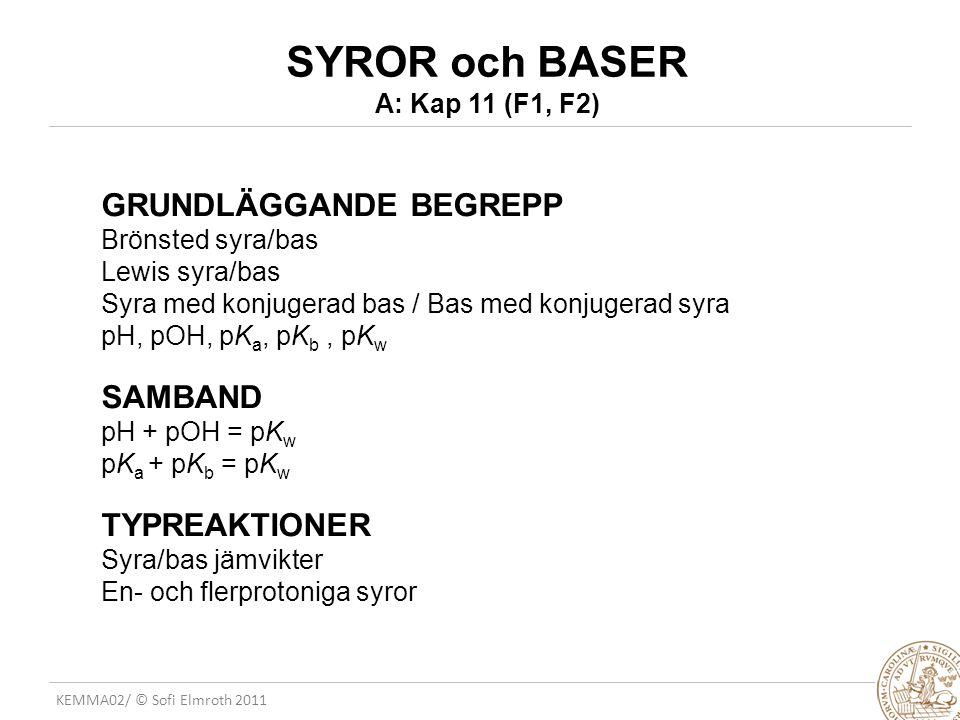 SYROR och BASER A: Kap 11 (F1, F2)
