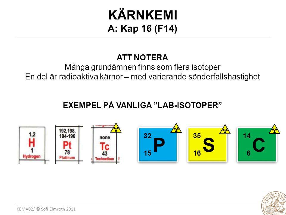EXEMPEL PÅ VANLIGA LAB-ISOTOPER