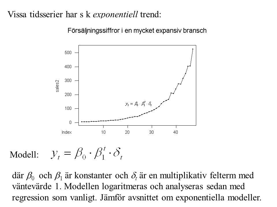 Vissa tidsserier har s k exponentiell trend: