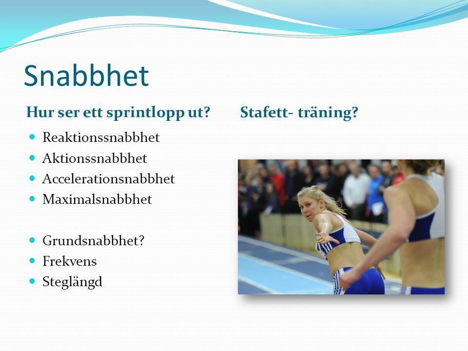 Snabbhet Hur ser ett sprintlopp ut Stafett- träning