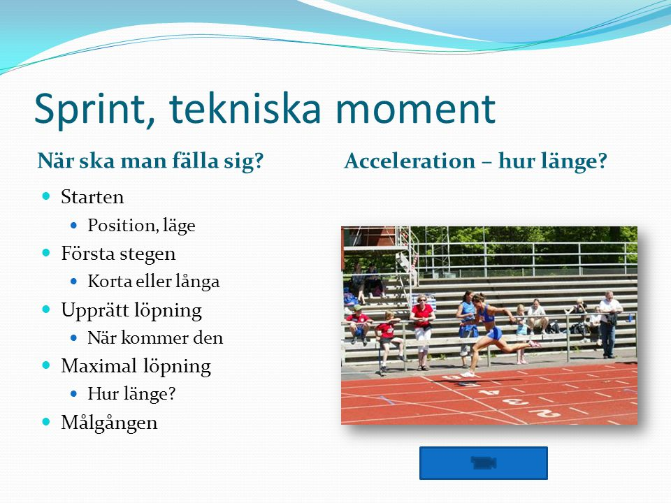 Sprint, tekniska moment