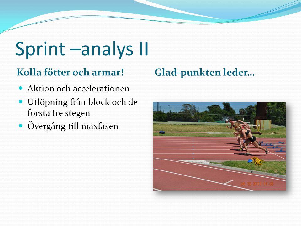 Sprint –analys II Kolla fötter och armar! Glad-punkten leder…