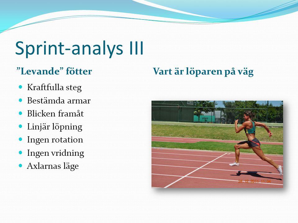 Sprint-analys III Levande fötter Vart är löparen på väg