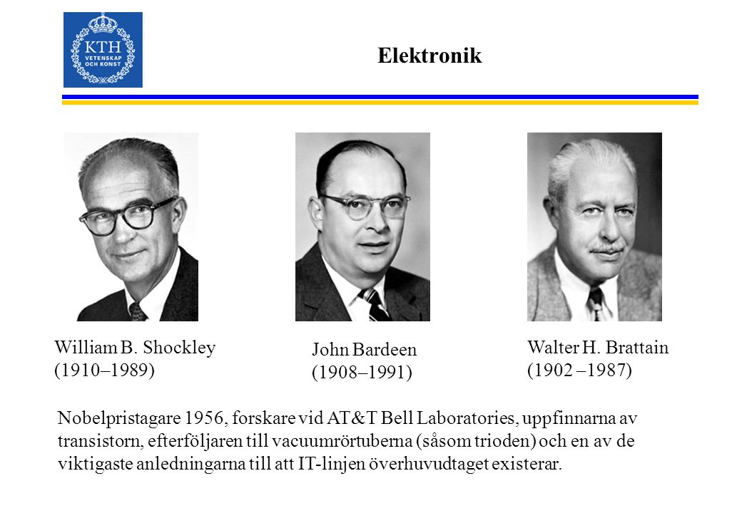 Elektronik William B. Shockley (1910–1989) John Bardeen (1908–1991)