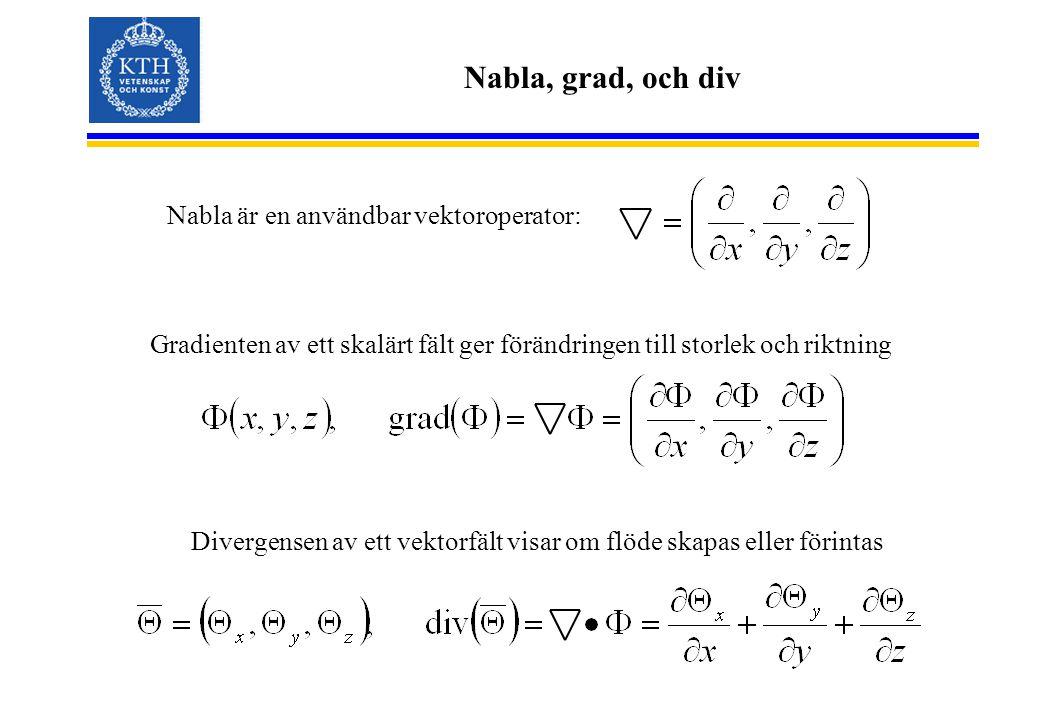 Nabla, grad, och div Nabla är en användbar vektoroperator: