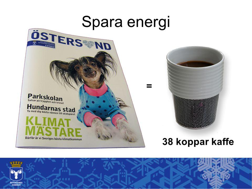 Spara energi = 38 koppar kaffe Tål att tänkas på vid nästa fikarast:
