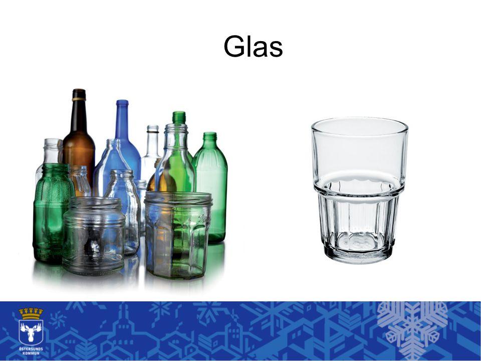 Glas Alla glasförpackningar är viktiga att sortera efter färg.