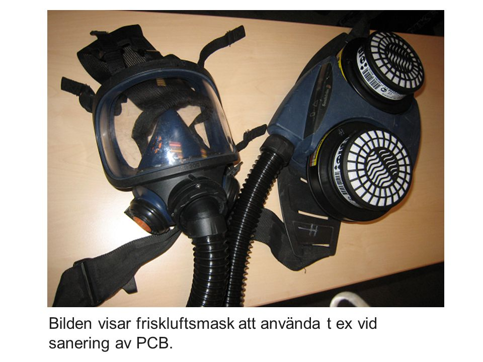 Bilden visar friskluftsmask att använda t ex vid sanering av PCB.