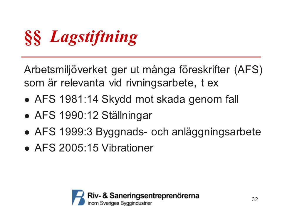 §§ Lagstiftning Arbetsmiljöverket ger ut många föreskrifter (AFS) som är relevanta vid rivningsarbete, t ex.