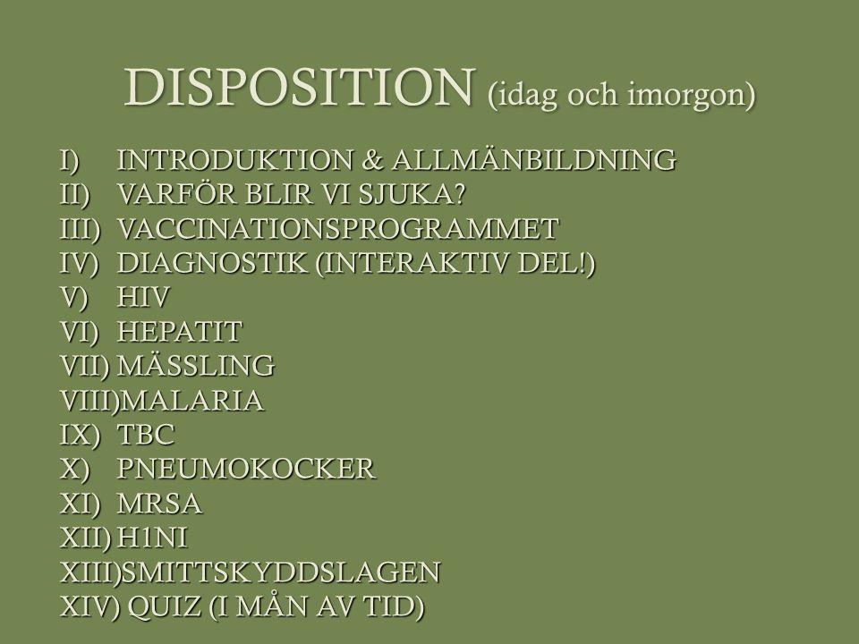 DISPOSITION (idag och imorgon)