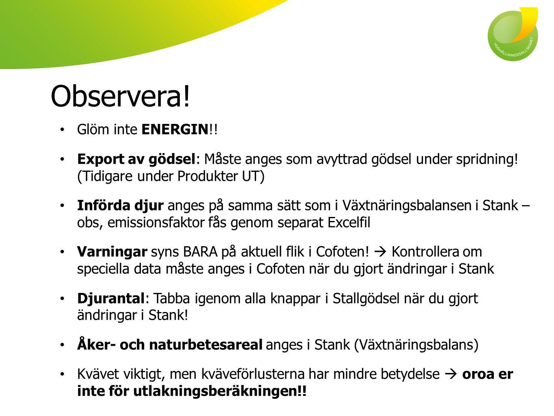 Observera! Glöm inte ENERGIN!!
