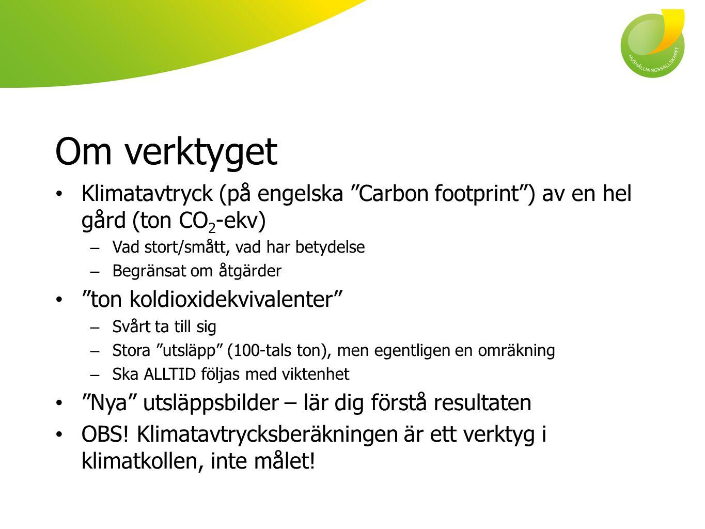 Om verktyget Klimatavtryck (på engelska Carbon footprint ) av en hel gård (ton CO2-ekv) Vad stort/smått, vad har betydelse.