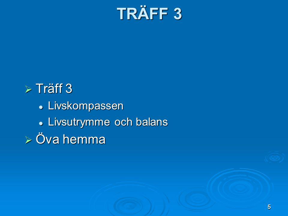 TRÄFF 3 Träff 3 Livskompassen Livsutrymme och balans Öva hemma