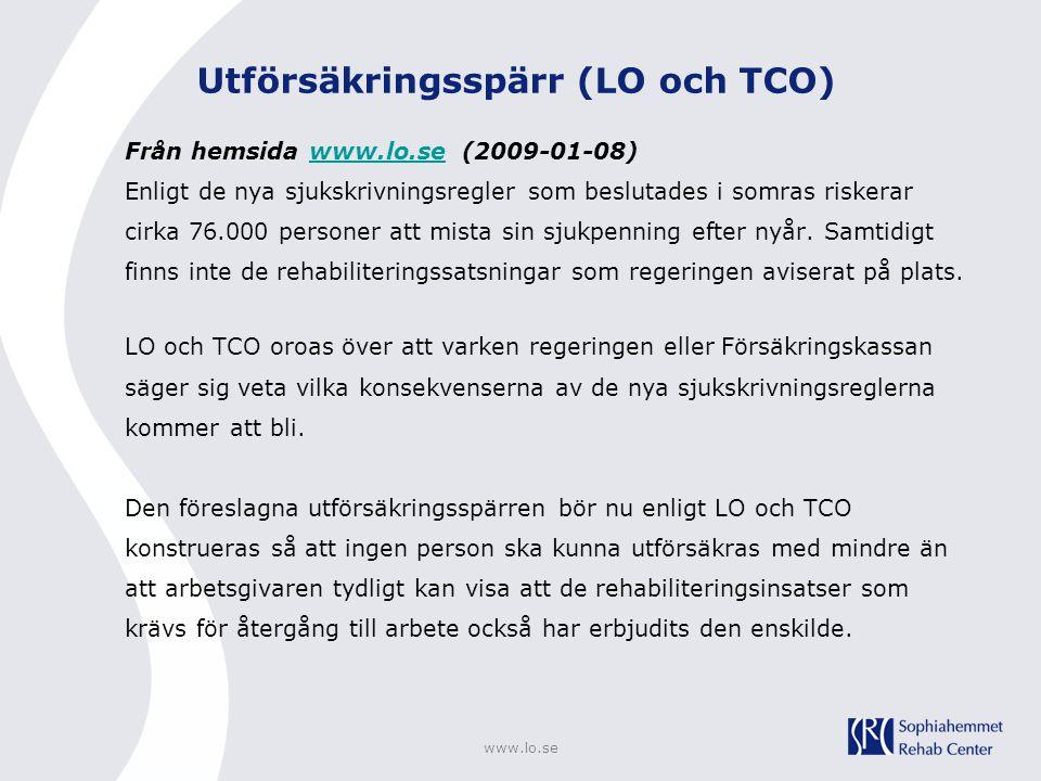 Utförsäkringsspärr (LO och TCO)