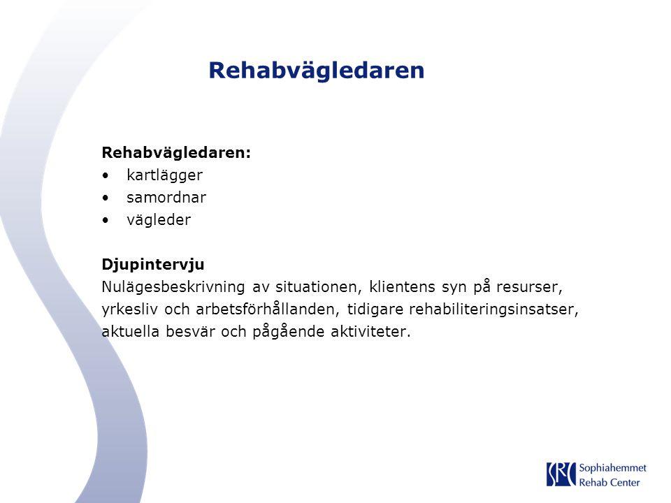 Rehabvägledaren Rehabvägledaren: kartlägger samordnar vägleder