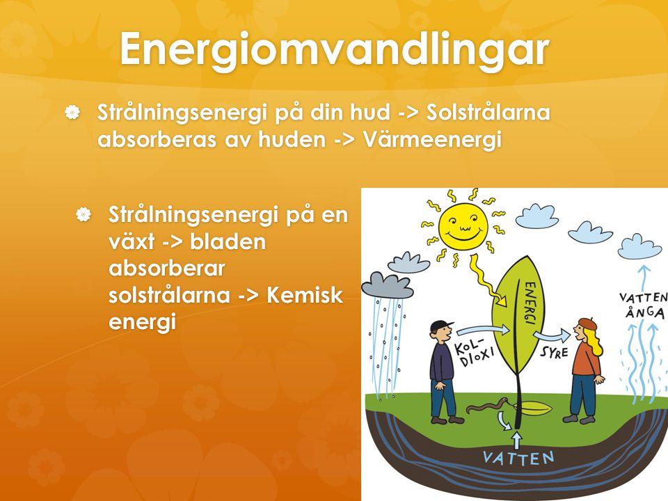 Energiomvandlingar Strålningsenergi på din hud -> Solstrålarna absorberas av huden -> Värmeenergi.