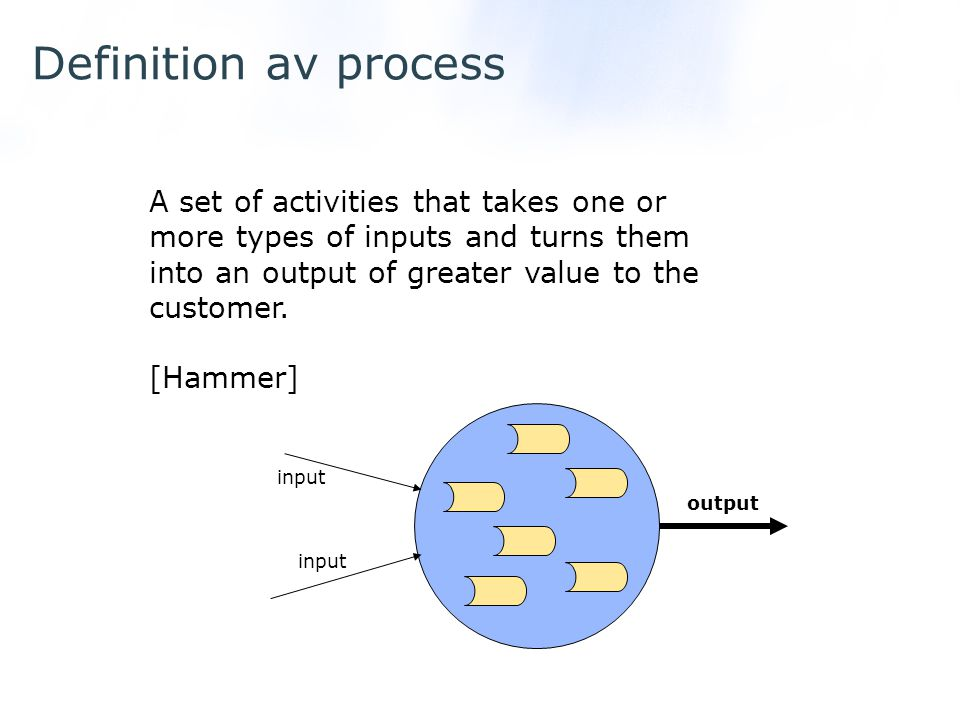 Definition av process A set of activities that takes one or more types of inputs and turns them into an output of greater value to the customer.