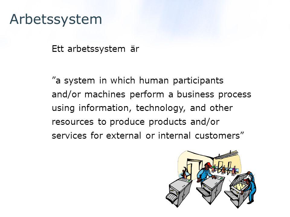 Arbetssystem Ett arbetssystem är