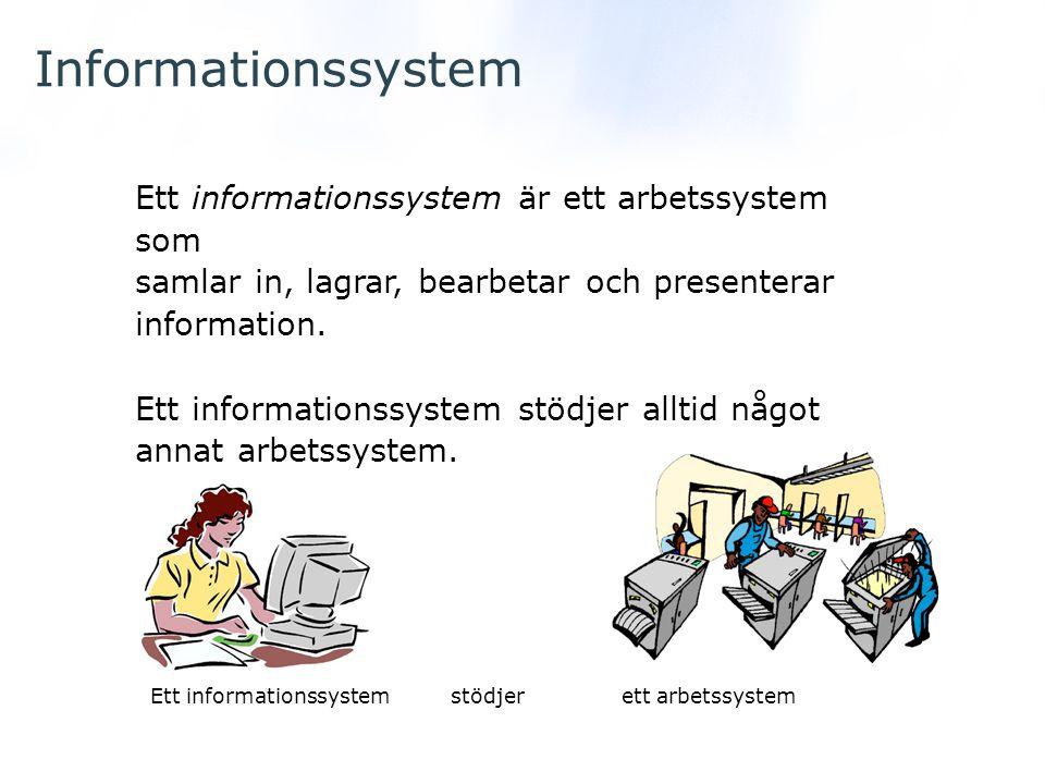 Informationssystem Ett informationssystem är ett arbetssystem som